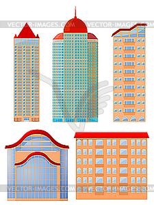 S Sammlung von Wohnhäusern - Vector Clip Art