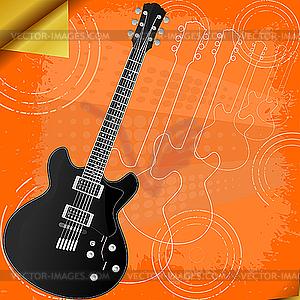 Retro-Hintergrund mit E-Gitarre - Vector-Bild