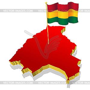 Landkarte von Bolivien mit der Nationalflagge - Vector Clip Art