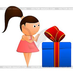 Kleines Mädchen mit Geschenk. - Stock Vektor-Bild
