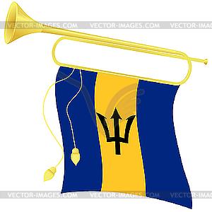 Signalhorn mit Flagge Barbados - Vektor Clip Art