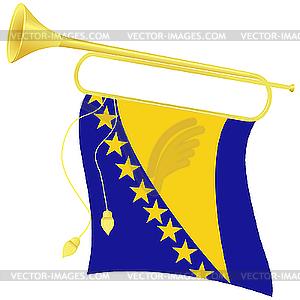 Signalhorn mit Flagge Bosnien und Herzegowina - Vektorgrafik-Design