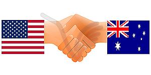 Zeichen der Freundschaft der Vereinigten Staaten und Australien - Stock Vektorgrafik
