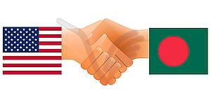 Zeichen der Freundschaft der Vereinigten Staaten und Bangladesch - Vektorgrafik-Design