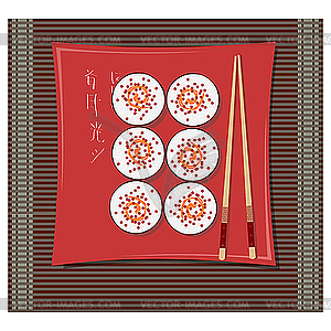 Sushi auf dem Teller - Stock-Clipart