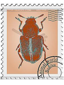 Stempel mit einem Käfer - Vector-Abbildung