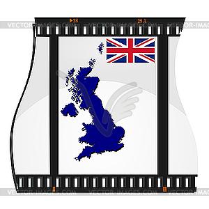Bild Filmmaterial mit Karte von Großbritannien - Vektor-Skizze