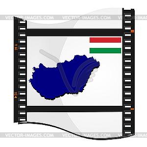 Bild Filmmaterial mit Karte von Ungarn - Stock Vektor-Bild