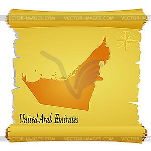 Pergament mit Silhouette der Vereinigten Arabischen Emirate - Stock-Clipart