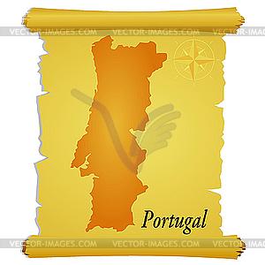 Pergament mit Silhouette von Portugal - Vector-Clipart EPS