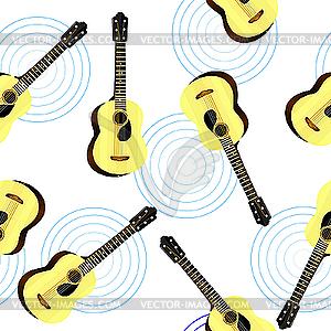 Nahtlose Textur mit einer akustischen Gitarre - vektorisiertes Bild