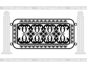Zaun mit Eisengitter - schwarzweiße Vektorgrafik