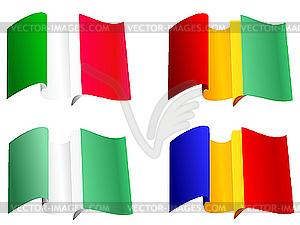 Nationalflaggen Guinea, Rumänien, Nigeria, Italien - Vector-Clipart / Vektor-Bild