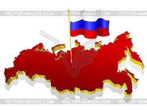 Dreidimensionale Landkarte von Russland mit Nationalflagge - Vektorgrafik