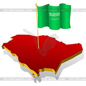 Landkarte von Saudi-Arabien mit Nationalflagge - Vektor Clip Art