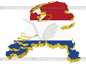 S 3D-Karte der Niederlande - Vektor-Clipart / Vektor-Bild