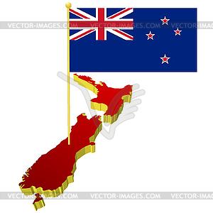 Lankarte von Neuseeland mit Nationalflagge - Vektor-Skizze
