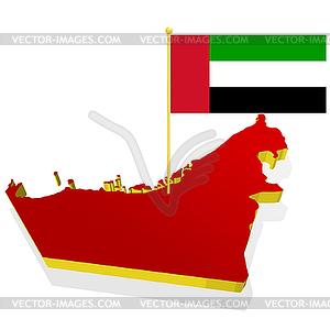 Lankarte von Vereinigten Arabischen Emiraten mit Flagge - Vektorgrafik-Design