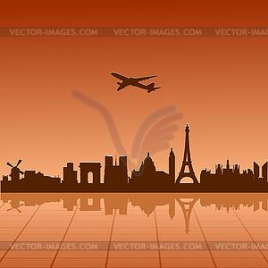 Flugzeug fliegt über Paris - Clipart-Design