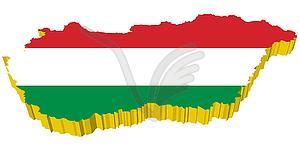 3D-Karte von Ungarn - Vector-Clipart EPS