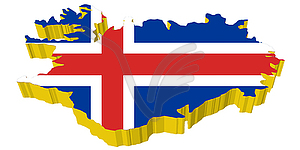 3D-Karte von Island - Stock Vektor-Clipart