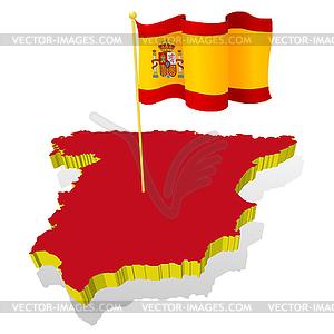 Landkarte von Spanien mit Nationalflagge - Vektor-Design