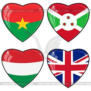 Set von Bildern der Herzen mit Fahnen Herzen von Burkina Faso, G - Stock-Clipart