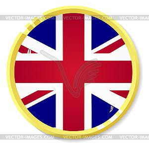 Knopf mit Flagge Großbritannien - vektorisiertes Clipart
