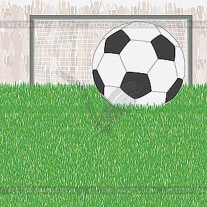 Fußball auf dem grünen Feld - farbige Vektorgrafik