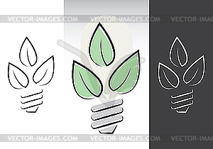 Grün Energiesparlampen Symbole - Vektor-Design