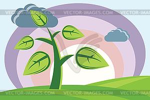 Pflanze, Sonne, Wolken und Hügel - Vektor-Clipart / Vektorgrafik
