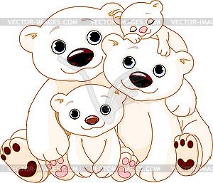 Große Eisbärenfamilie - vektorisiertes Design