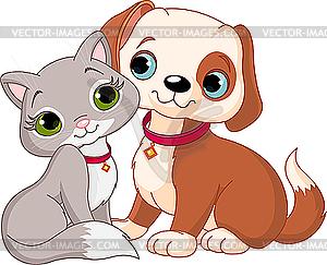 Katze und Hund - Vector-Clipart