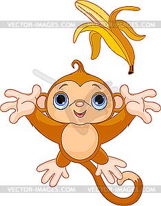 Lustiger Affe fangen Banane - vektorisierte Abbildung