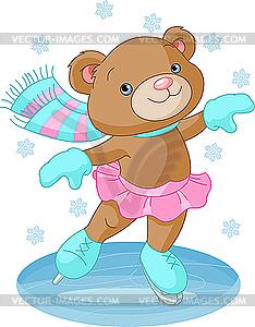 Nettes bär-mädchen auf schlittschuhen - vector-illustration