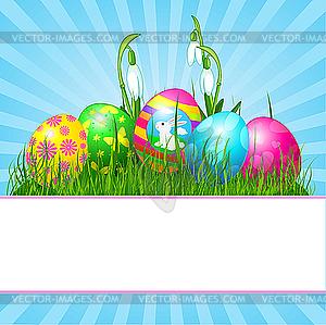 Osterkarte mit Eiern - Vektor-Design