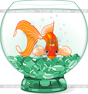 Cartoon Goldfisch-Königin im Aquarium - Vektorgrafik-Design