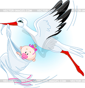 Storch und Baby - Vector-Design