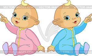 Zwei Babys zeigen - Vector-Clipart / Vektor-Bild