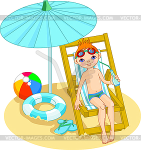 Junge am Strand - Vector-Illustration