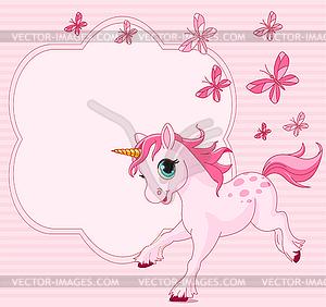 Rosa Grußkarte mit Baby-Einhorn - Stock Vektor-Clipart