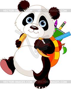 Netter Panda geht in die Schule  - Clipart-Bild