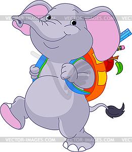 Netter Elefant geht in die Schule - Royalty-Free Vektor-Clipart
