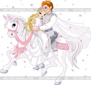 Romantisches Paar auf dem Pferd - Royalty-Free Vektor-Clipart