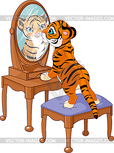 Tigerjunges suchen im Spiegel - vektorisiertes Clipart