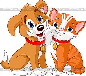 Katze und Hund - vektorisiertes Design