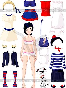Papier-Puppe mit Kleidung - Clipart-Bild