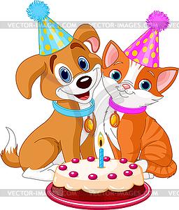 Katze und Hund feiern - Vektorgrafik-Design