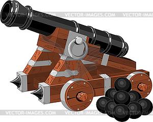 Alte Piratenschiff-Kanone - Stock Vektor-Clipart