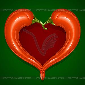 Zwei Paprikas in Form von Herzen - farbige Vektorgrafik